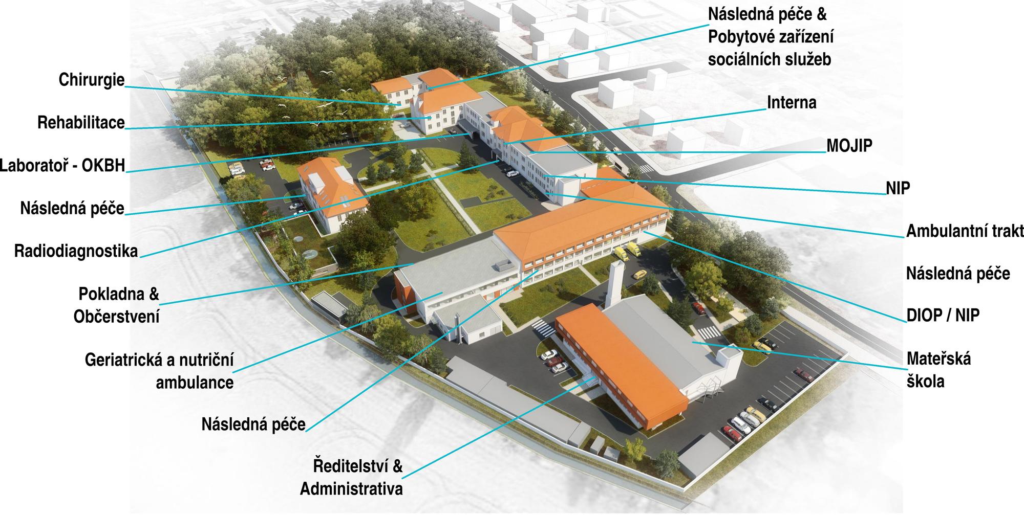 Mapa areálu nemocnice
